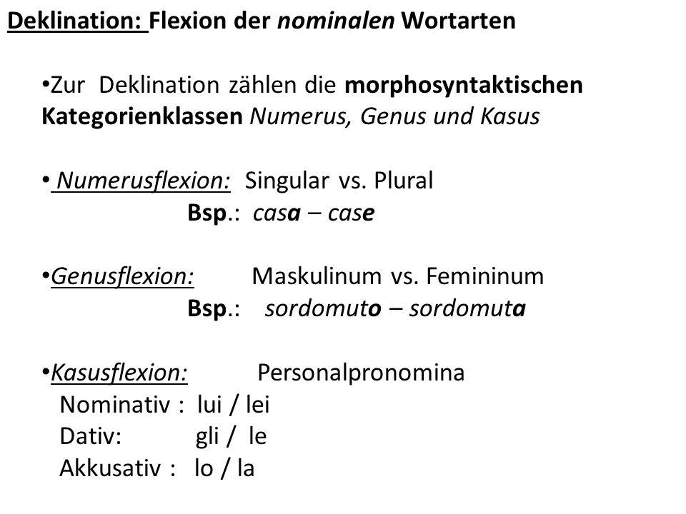 Deklination: Flexion der nominalen Wortarten Zur Deklination zählen die morphosyntaktischen Kategorienklassen Numerus, Genus und Kasus Numerusflexion:
