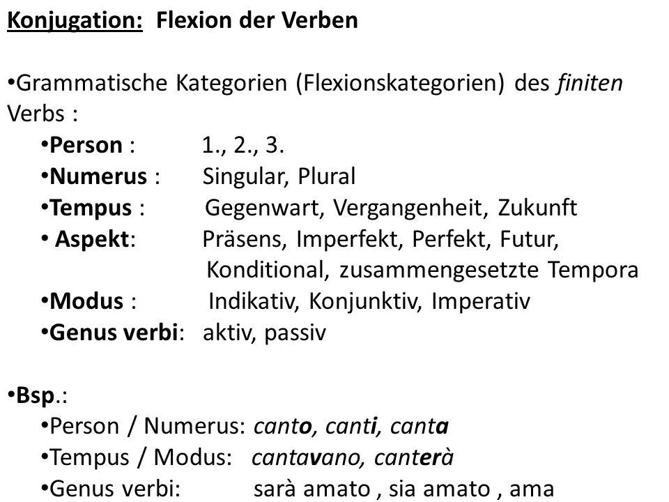 Konjugation: Flexion der Verben Grammatische Kategorien (Flexionskategorien) des finiten Verbs : Person : 1., 2., 3. Numerus : Singular, Plural Tempus