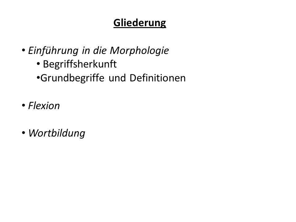 Gliederung Einführung in die Morphologie Begriffsherkunft Grundbegriffe und Definitionen Flexion Wortbildung