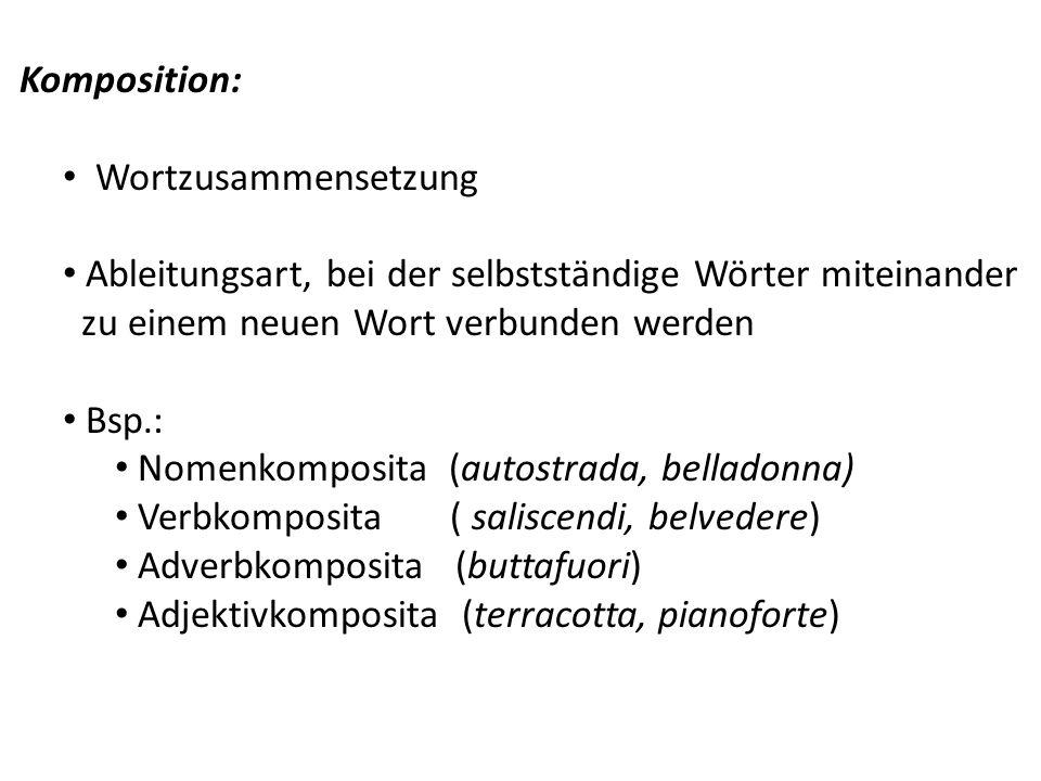 Komposition: Wortzusammensetzung Ableitungsart, bei der selbstständige Wörter miteinander zu einem neuen Wort verbunden werden Bsp.: Nomenkomposita (a