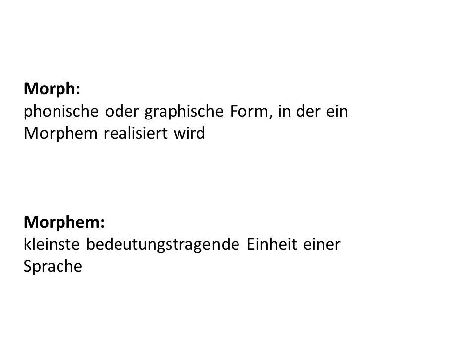 Morph: phonische oder graphische Form, in der ein Morphem realisiert wird Morphem: kleinste bedeutungstragende Einheit einer Sprache