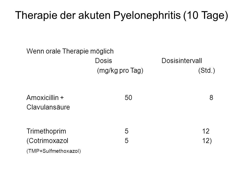 Therapie der akuten Pyelonephritis (10 Tage) Wenn orale Therapie möglich Dosis Dosisintervall (mg/kg pro Tag) (Std.) Amoxicillin + 508 Clavulansäure T