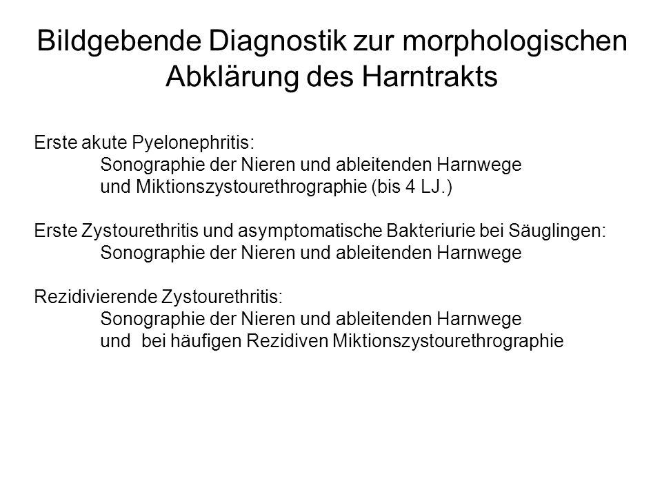 Bildgebende Diagnostik zur morphologischen Abklärung des Harntrakts Erste akute Pyelonephritis: Sonographie der Nieren und ableitenden Harnwege und Mi