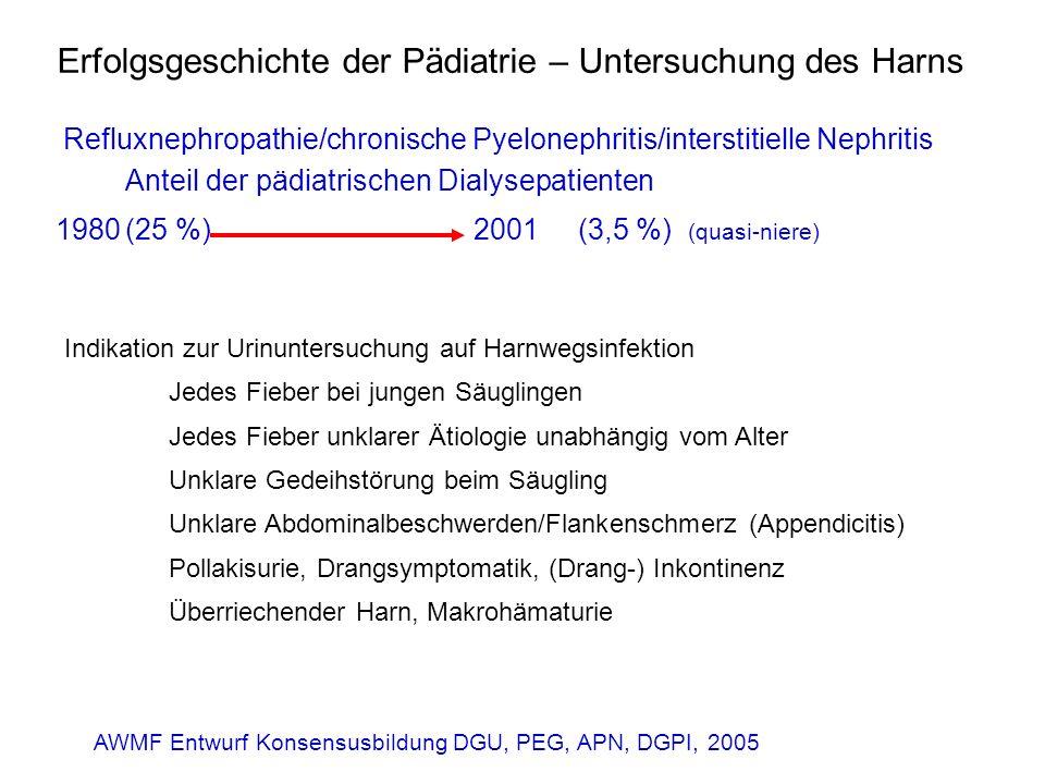Erfolgsgeschichte der Pädiatrie – Untersuchung des Harns Refluxnephropathie/chronische Pyelonephritis/interstitielle Nephritis Anteil der pädiatrische