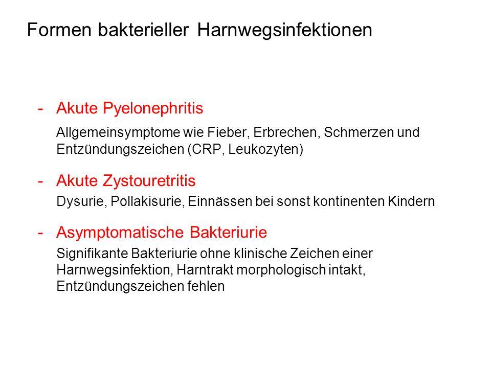 Formen bakterieller Harnwegsinfektionen - Akute Pyelonephritis Allgemeinsymptome wie Fieber, Erbrechen, Schmerzen und Entzündungszeichen (CRP, Leukozy