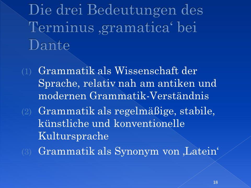 (1) Grammatik als Wissenschaft der Sprache, relativ nah am antiken und modernen Grammatik-Verständnis (2) Grammatik als regelmäßige, stabile, künstlic