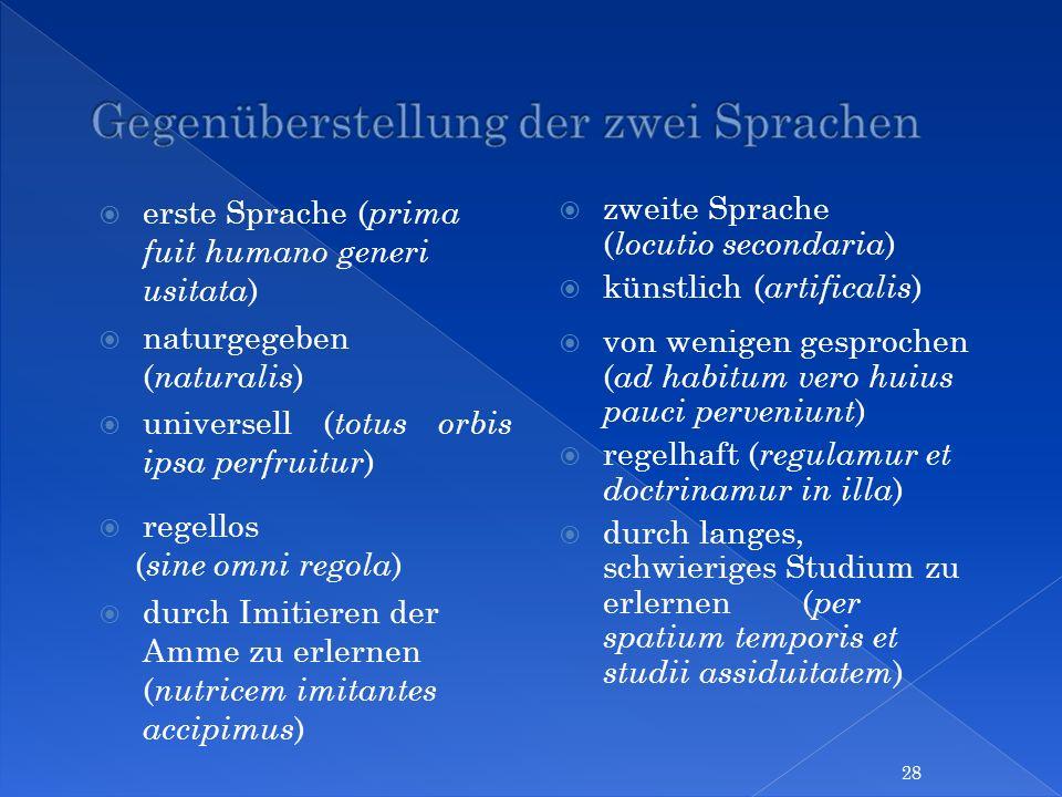 erste Sprache ( prima fuit humano generi usitata ) naturgegeben ( naturalis ) universell ( totus orbis ipsa perfruitur ) regellos ( sine omni regola )