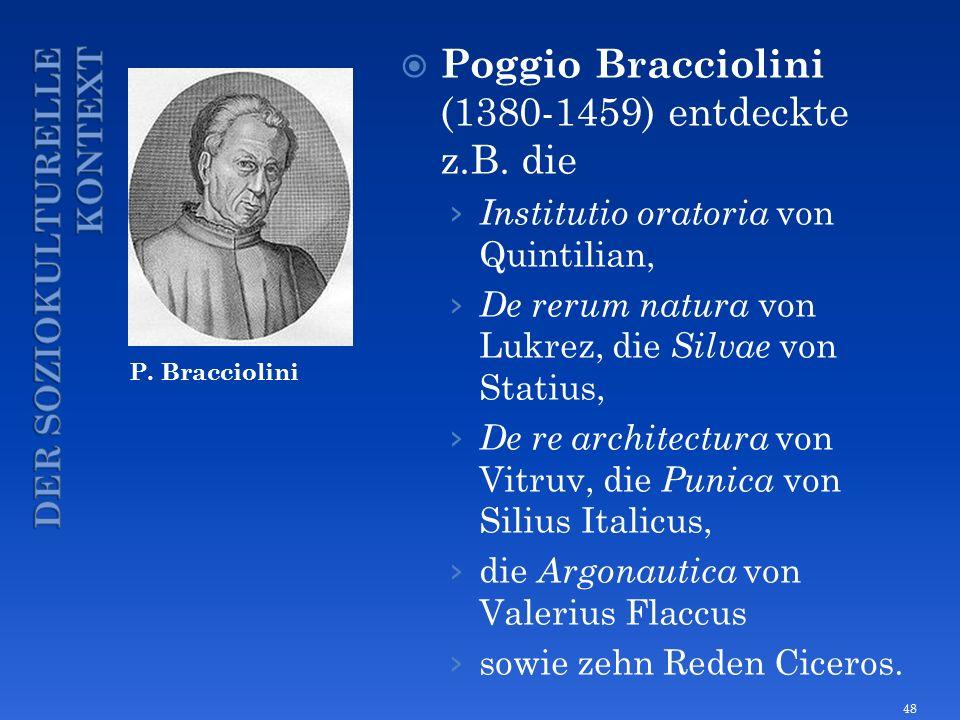 P. Bracciolini Poggio Bracciolini (1380-1459) entdeckte z.B. die Institutio oratoria von Quintilian, De rerum natura von Lukrez, die Silvae von Statiu