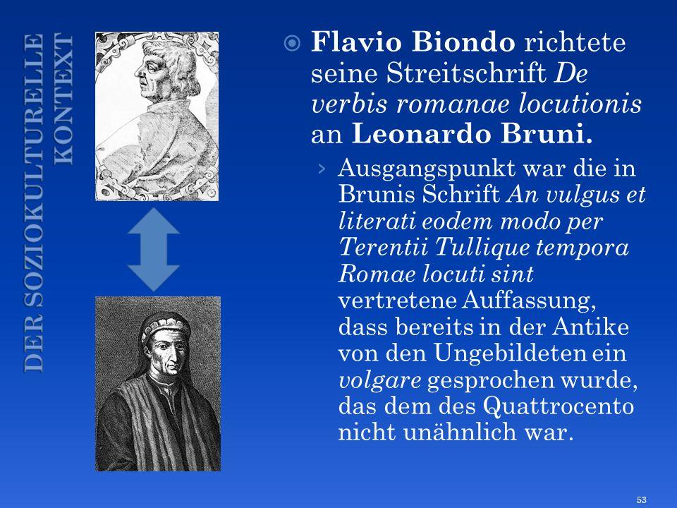 Flavio Biondo richtete seine Streitschrift De verbis romanae locutionis an Leonardo Bruni. Ausgangspunkt war die in Brunis Schrift An vulgus et litera