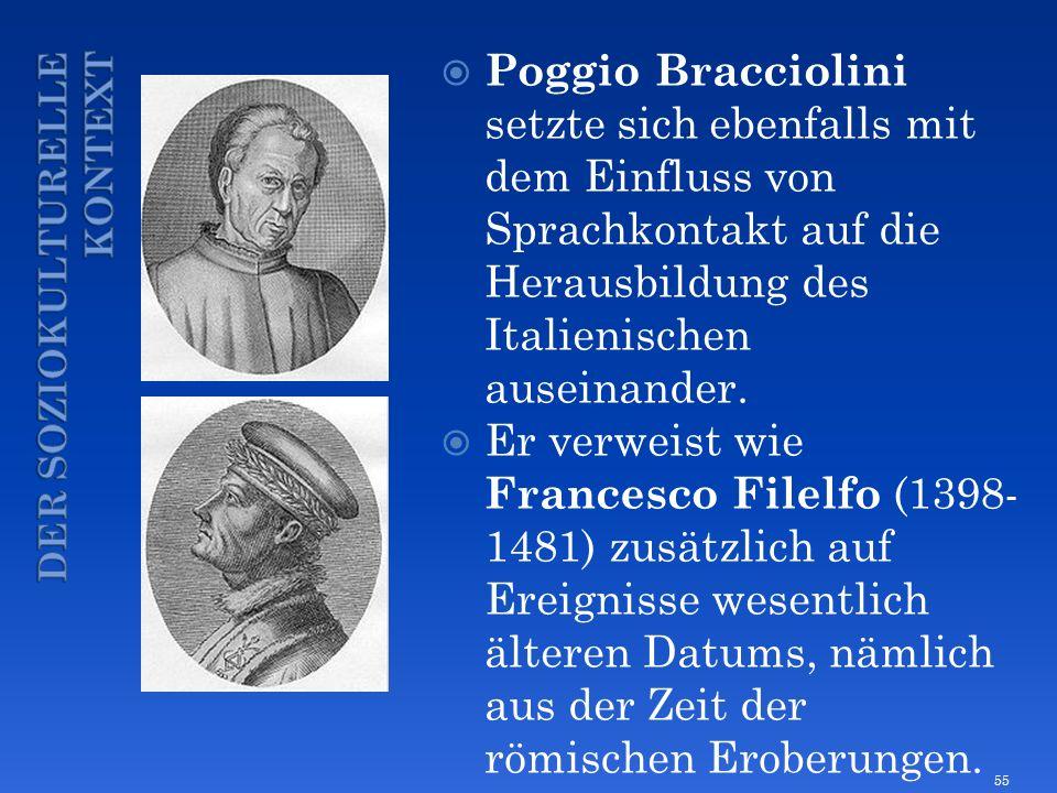Poggio Bracciolini setzte sich ebenfalls mit dem Einfluss von Sprachkontakt auf die Herausbildung des Italienischen auseinander. Er verweist wie Franc