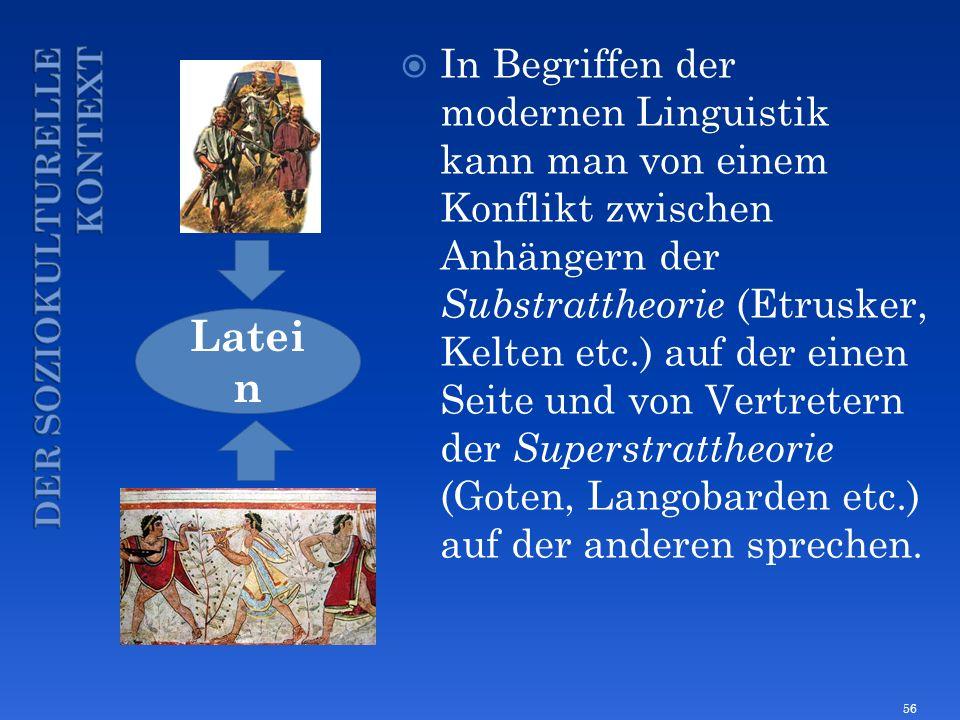 In Begriffen der modernen Linguistik kann man von einem Konflikt zwischen Anhängern der Substrattheorie (Etrusker, Kelten etc.) auf der einen Seite un