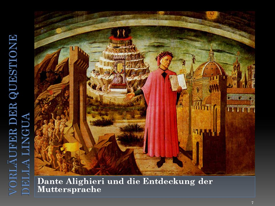 Dass sich Dante überhaupt mit den italienischen Dialekten befasst, ist seiner expliziten Bevorzugung der spontan gebrauchten, natürlichen Muttersprache gegenüber dem künstlichen Lateinischen zu verdanken ( nobilior est vulgaris ), die sich langsam bei ihm herausgebildet hat.