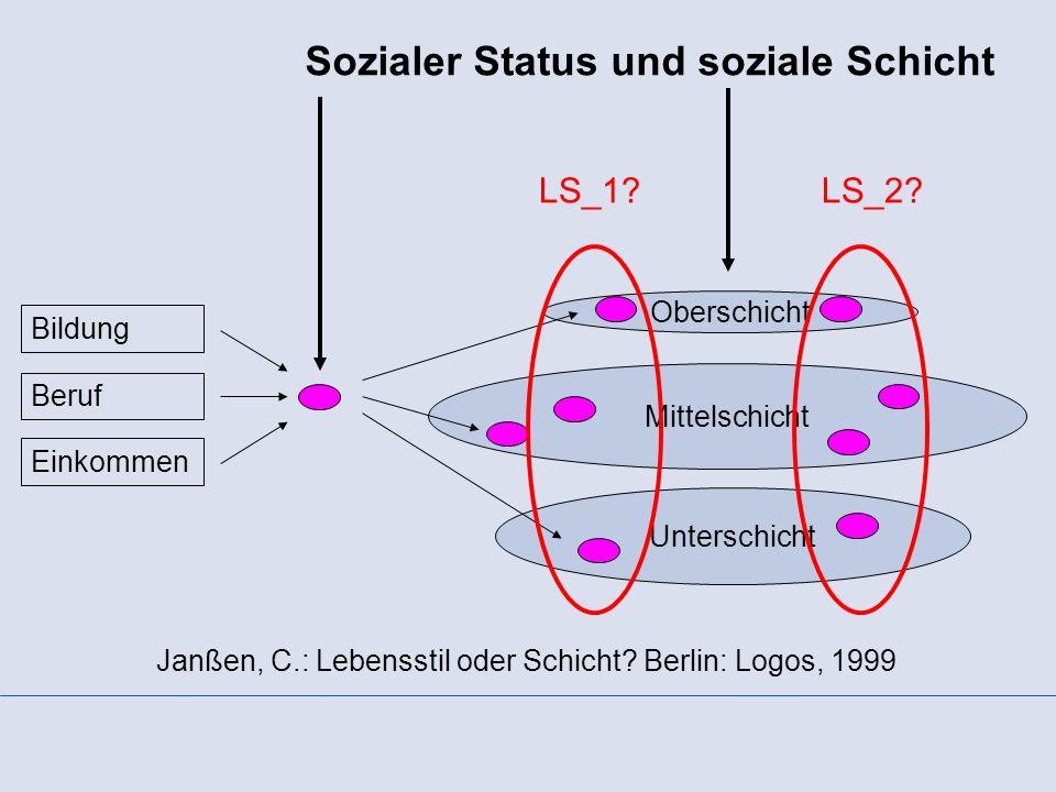Sozialer Status und soziale Schicht Oberschicht Mittelschicht Unterschicht Janßen, C.: Lebensstil oder Schicht? Berlin: Logos, 1999 Einkommen Beruf Bi