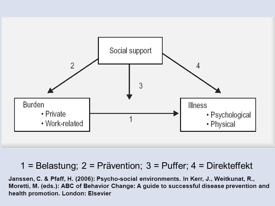 1 = Belastung; 2 = Prävention; 3 = Puffer; 4 = Direkteffekt Janssen, C.