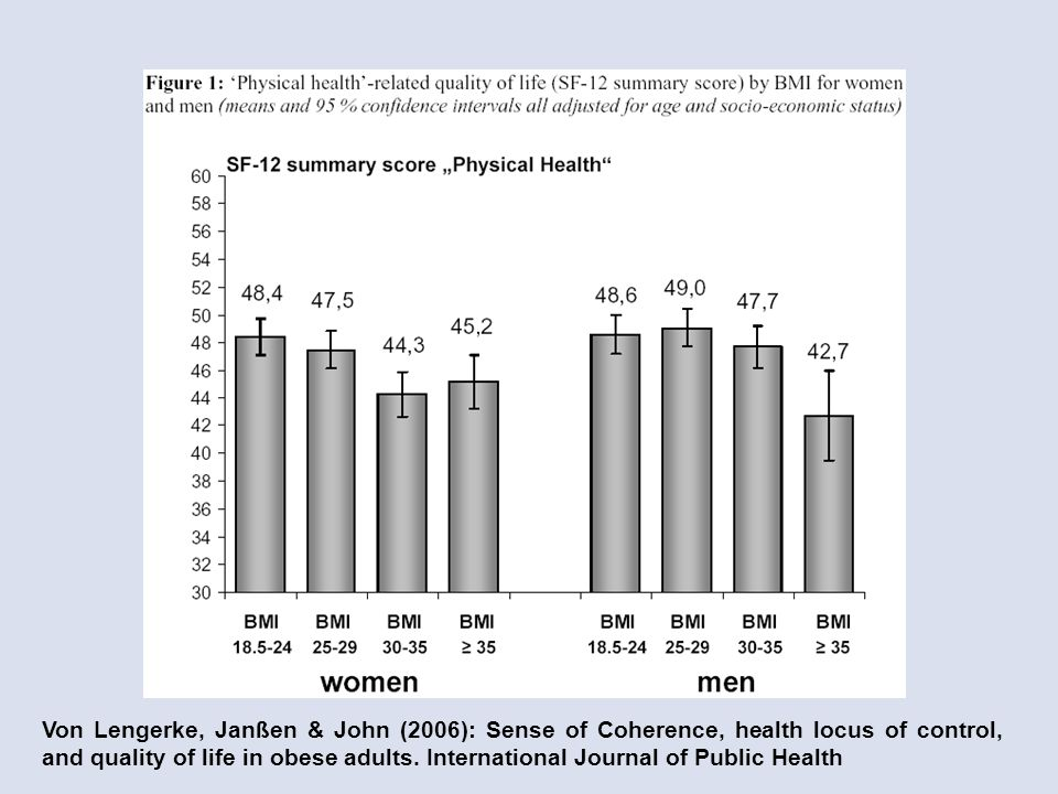 Von Lengerke, Janßen & John (2006): Sense of Coherence, health locus of control, and quality of life in obese adults.