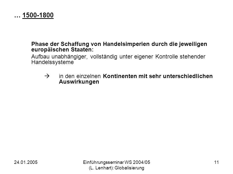 24.01.2005Einführungsseminar WS 2004/05 (L. Lenhart): Globalisierung 11 … 1500-1800 Phase der Schaffung von Handelsimperien durch die jeweiligen europ