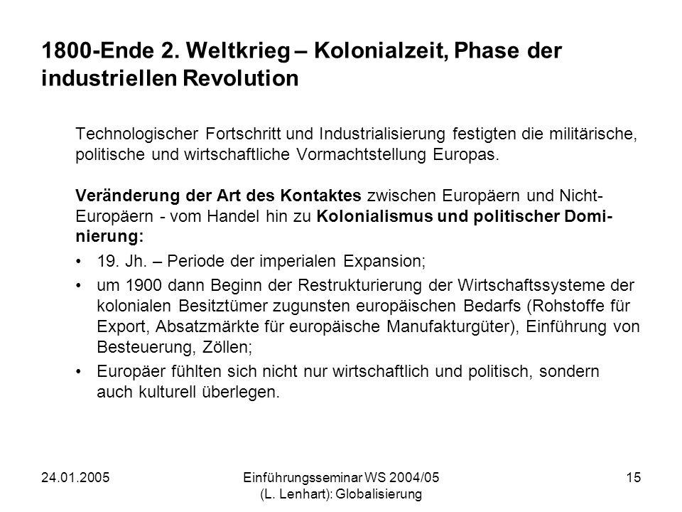 24.01.2005Einführungsseminar WS 2004/05 (L. Lenhart): Globalisierung 15 1800-Ende 2. Weltkrieg – Kolonialzeit, Phase der industriellen Revolution Tech