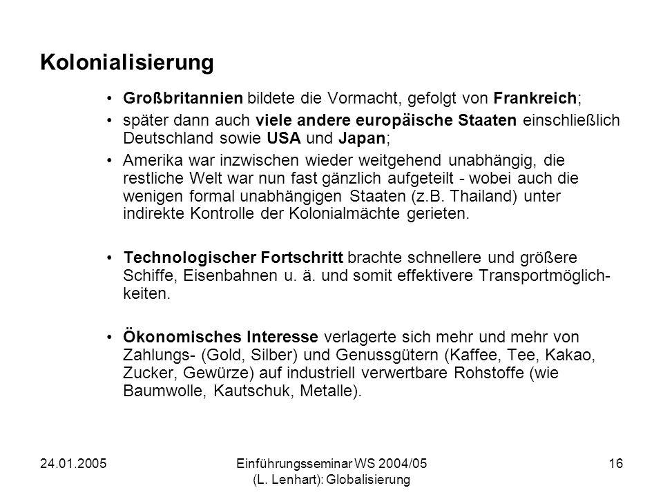 24.01.2005Einführungsseminar WS 2004/05 (L. Lenhart): Globalisierung 16 Kolonialisierung Großbritannien bildete die Vormacht, gefolgt von Frankreich;
