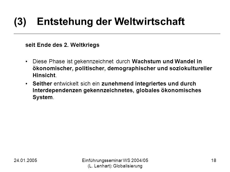 24.01.2005Einführungsseminar WS 2004/05 (L. Lenhart): Globalisierung 18 (3)Entstehung der Weltwirtschaft seit Ende des 2. Weltkriegs Diese Phase ist g