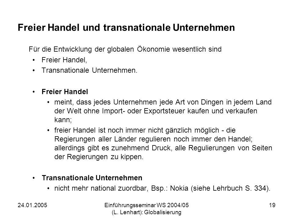 24.01.2005Einführungsseminar WS 2004/05 (L. Lenhart): Globalisierung 19 Freier Handel und transnationale Unternehmen Für die Entwicklung der globalen