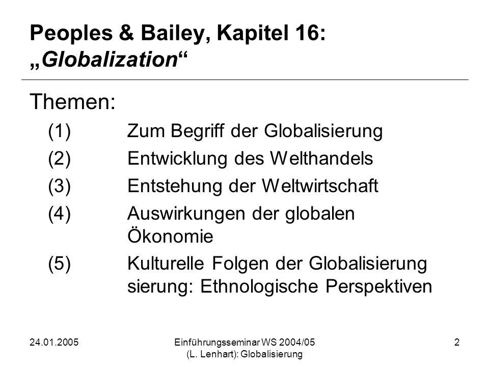24.01.2005Einführungsseminar WS 2004/05 (L. Lenhart): Globalisierung 2 Peoples & Bailey, Kapitel 16:Globalization Themen: (1)Zum Begriff der Globalisi