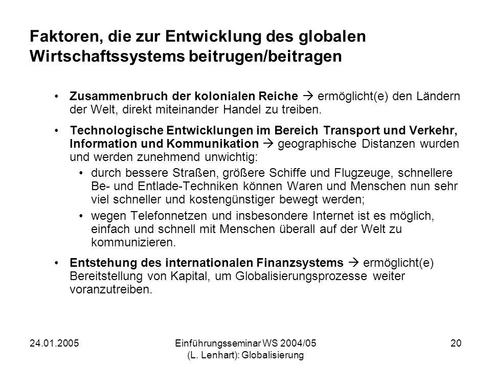 24.01.2005Einführungsseminar WS 2004/05 (L. Lenhart): Globalisierung 20 Faktoren, die zur Entwicklung des globalen Wirtschaftssystems beitrugen/beitra