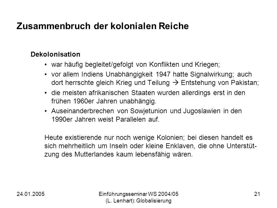 24.01.2005Einführungsseminar WS 2004/05 (L. Lenhart): Globalisierung 21 Zusammenbruch der kolonialen Reiche Dekolonisation war häufig begleitet/gefolg