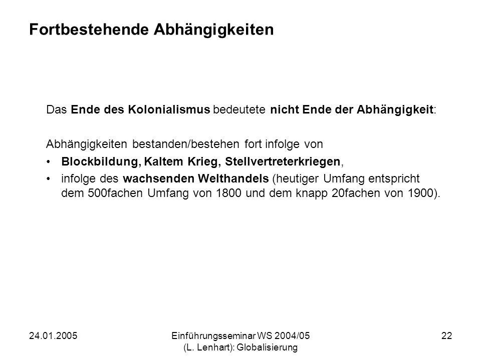 24.01.2005Einführungsseminar WS 2004/05 (L. Lenhart): Globalisierung 22 Fortbestehende Abhängigkeiten Das Ende des Kolonialismus bedeutete nicht Ende