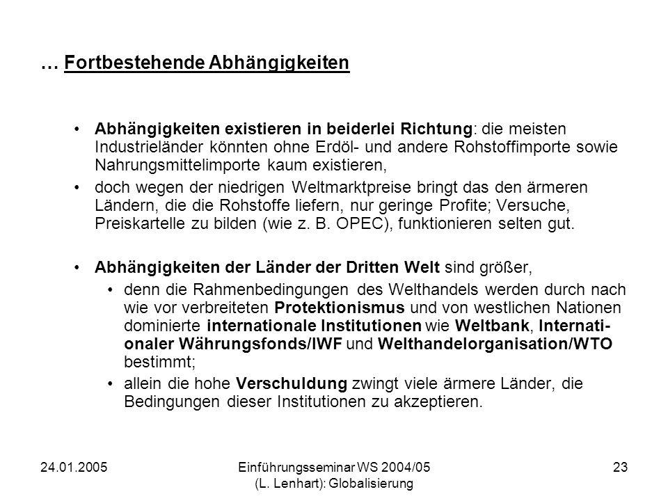 24.01.2005Einführungsseminar WS 2004/05 (L. Lenhart): Globalisierung 23 … Fortbestehende Abhängigkeiten Abhängigkeiten existieren in beiderlei Richtun