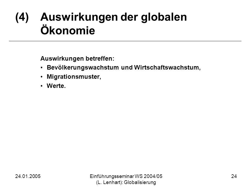 24.01.2005Einführungsseminar WS 2004/05 (L. Lenhart): Globalisierung 24 (4)Auswirkungen der globalen Ökonomie Auswirkungen betreffen: Bevölkerungswach