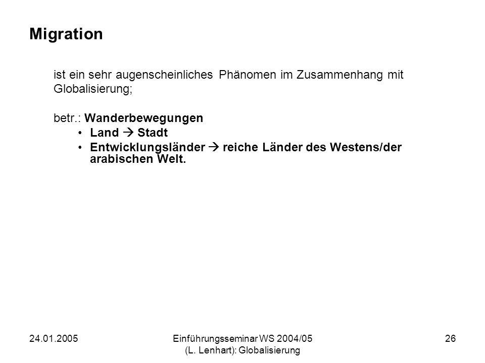 24.01.2005Einführungsseminar WS 2004/05 (L. Lenhart): Globalisierung 26 Migration ist ein sehr augenscheinliches Phänomen im Zusammenhang mit Globalis
