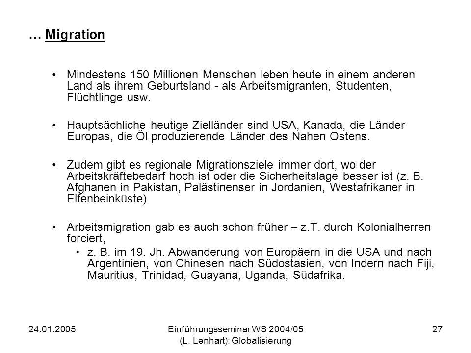 24.01.2005Einführungsseminar WS 2004/05 (L. Lenhart): Globalisierung 27 … Migration Mindestens 150 Millionen Menschen leben heute in einem anderen Lan