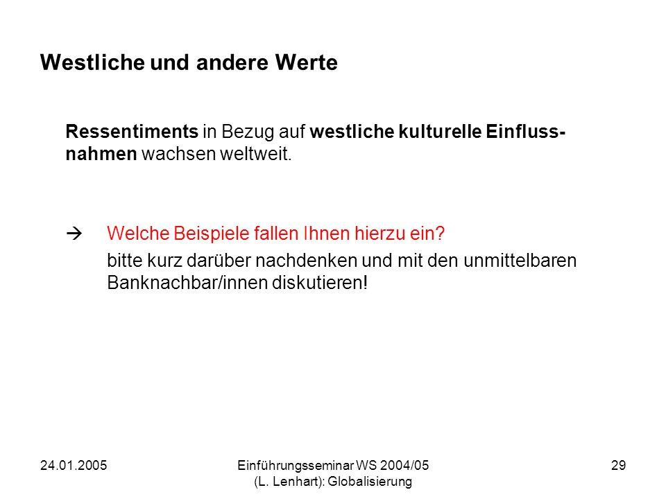 24.01.2005Einführungsseminar WS 2004/05 (L. Lenhart): Globalisierung 29 Westliche und andere Werte Ressentiments in Bezug auf westliche kulturelle Ein