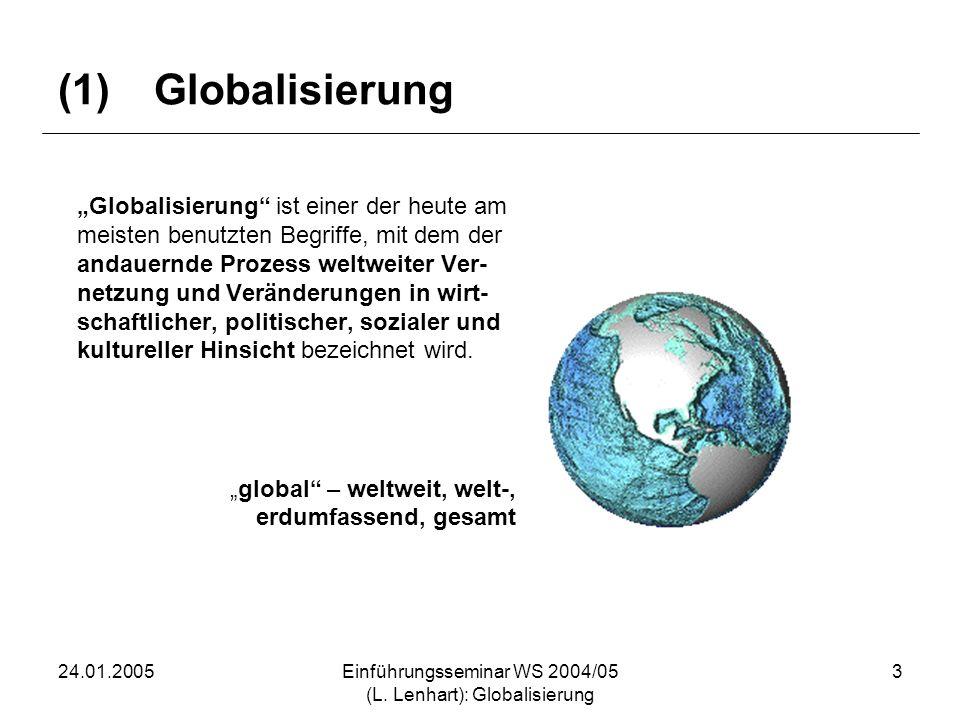 24.01.2005Einführungsseminar WS 2004/05 (L. Lenhart): Globalisierung 3 (1)Globalisierung Globalisierung ist einer der heute am meisten benutzten Begri