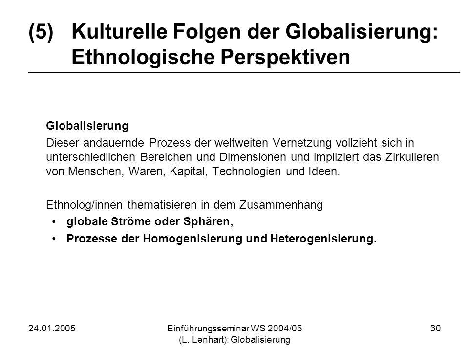 24.01.2005Einführungsseminar WS 2004/05 (L. Lenhart): Globalisierung 30 (5)Kulturelle Folgen der Globalisierung: Ethnologische Perspektiven Globalisie