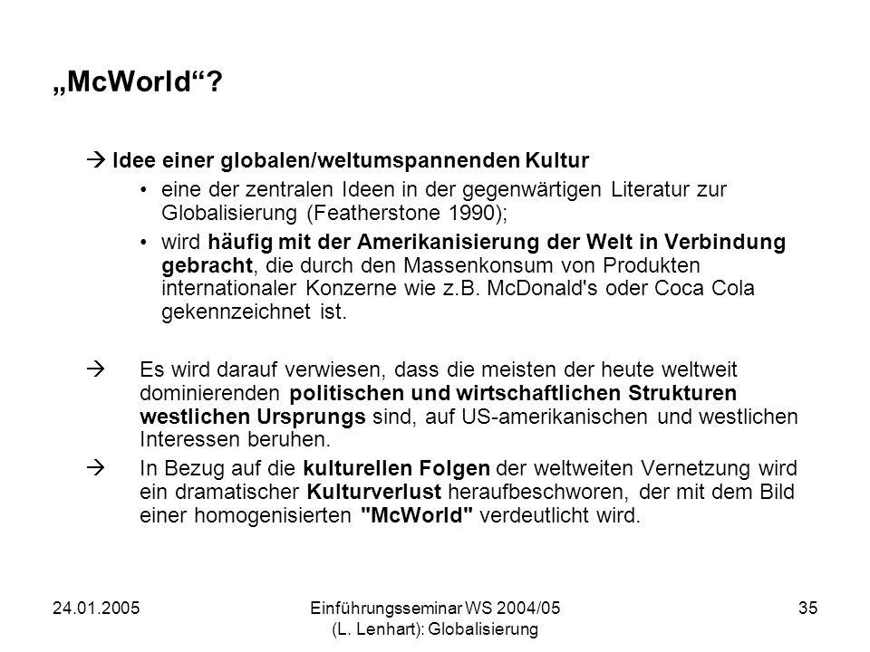 24.01.2005Einführungsseminar WS 2004/05 (L. Lenhart): Globalisierung 35 McWorld? Idee einer globalen/weltumspannenden Kultur eine der zentralen Ideen