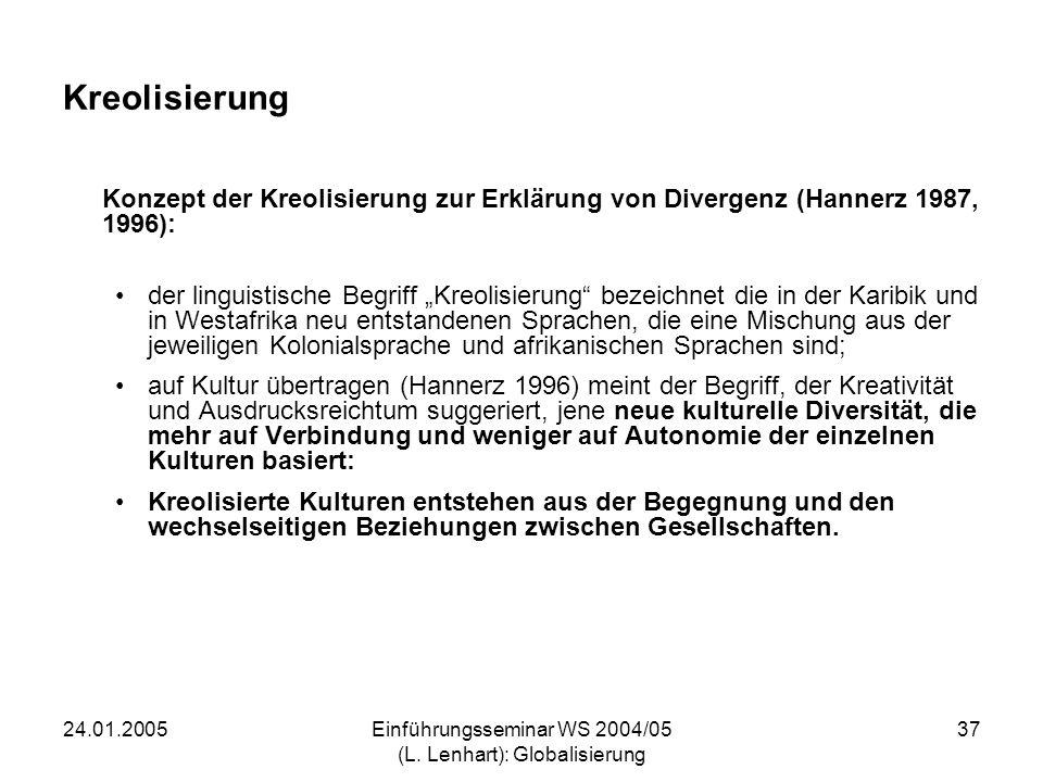 24.01.2005Einführungsseminar WS 2004/05 (L. Lenhart): Globalisierung 37 Kreolisierung Konzept der Kreolisierung zur Erklärung von Divergenz (Hannerz 1