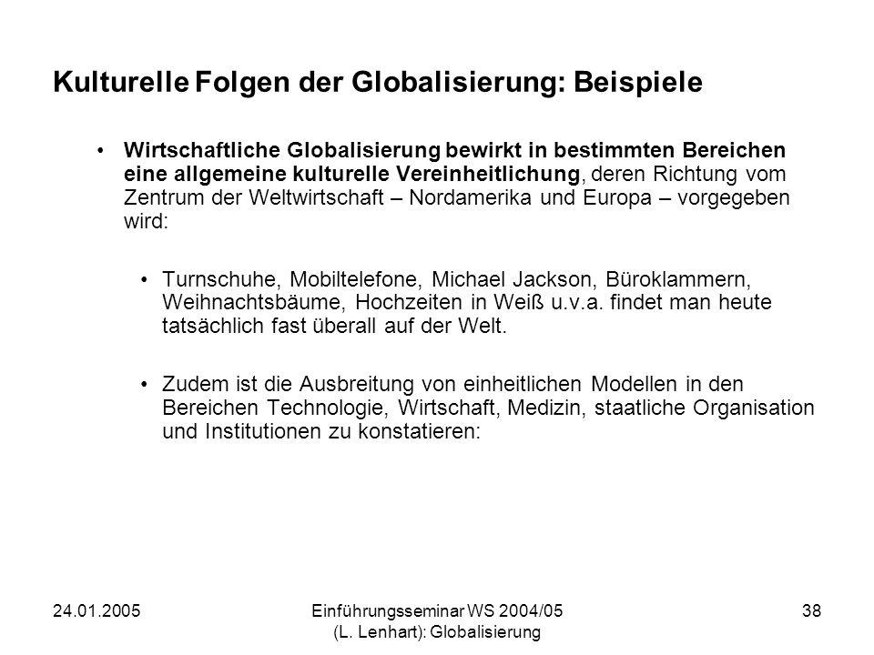 24.01.2005Einführungsseminar WS 2004/05 (L. Lenhart): Globalisierung 38 Kulturelle Folgen der Globalisierung: Beispiele Wirtschaftliche Globalisierung