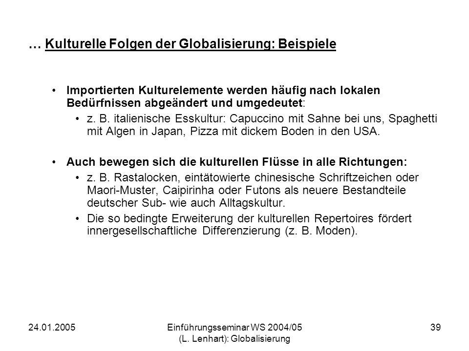 24.01.2005Einführungsseminar WS 2004/05 (L. Lenhart): Globalisierung 39 … Kulturelle Folgen der Globalisierung: Beispiele Importierten Kulturelemente