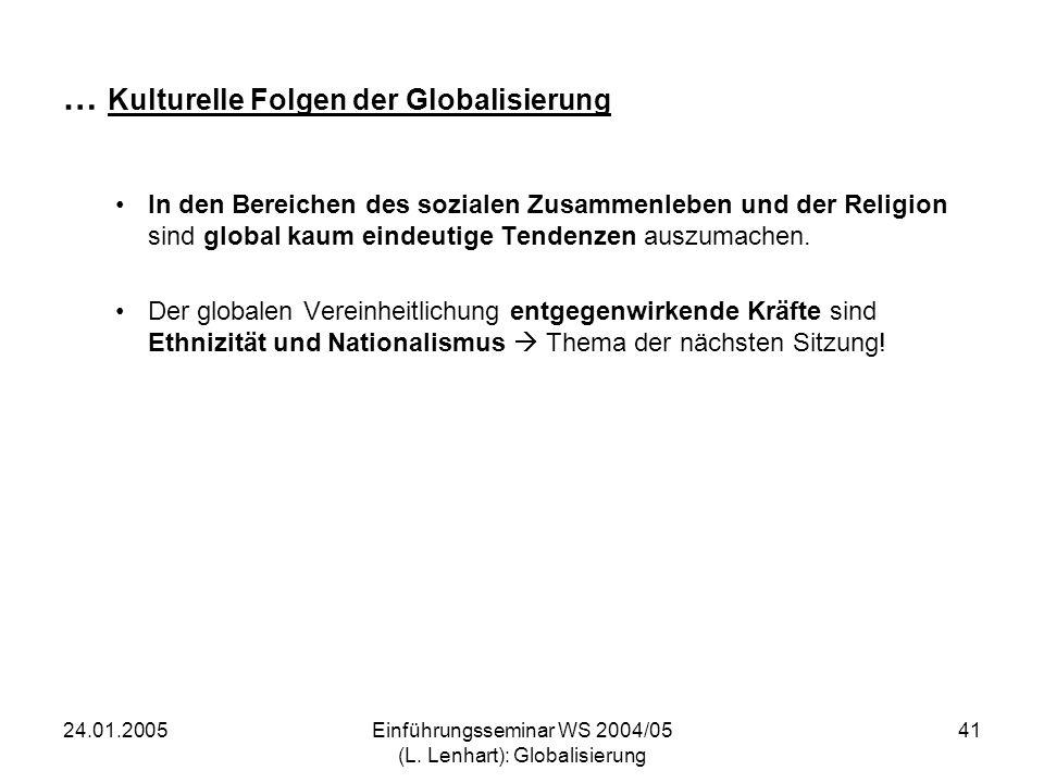 24.01.2005Einführungsseminar WS 2004/05 (L. Lenhart): Globalisierung 41 … Kulturelle Folgen der Globalisierung In den Bereichen des sozialen Zusammenl