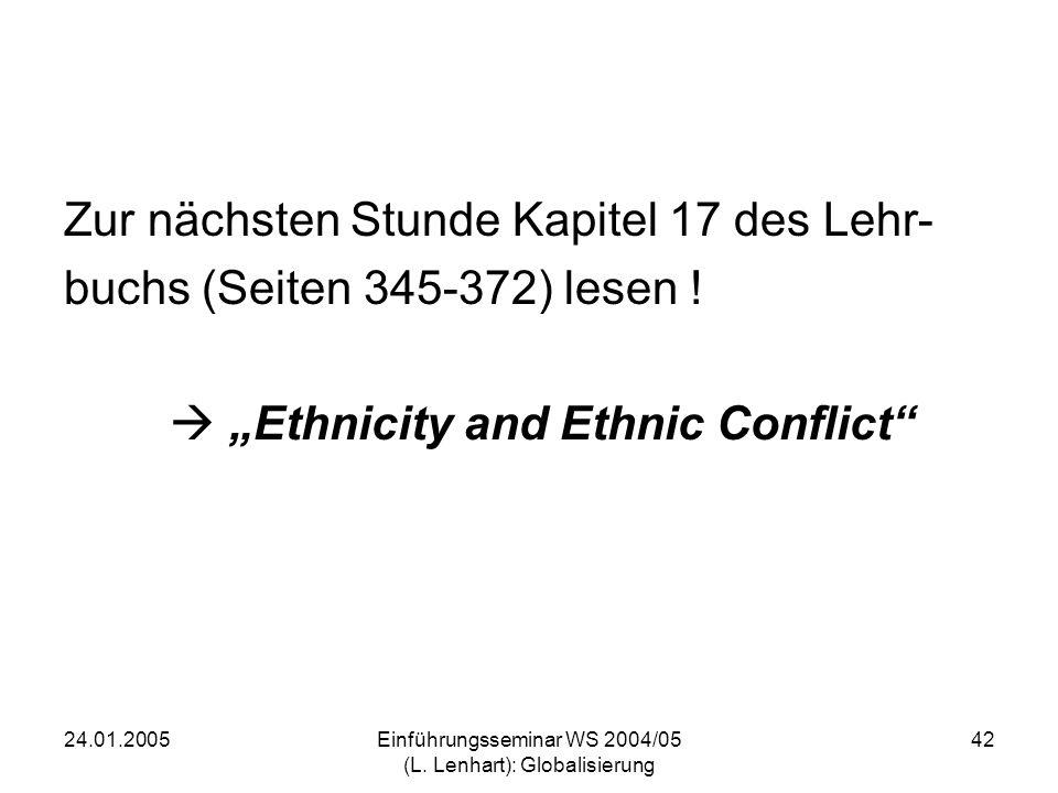 24.01.2005Einführungsseminar WS 2004/05 (L. Lenhart): Globalisierung 42 Zur nächsten Stunde Kapitel 17 des Lehr- buchs (Seiten 345-372) lesen ! Ethnic