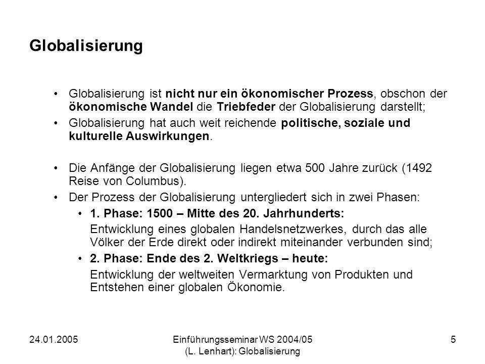 24.01.2005Einführungsseminar WS 2004/05 (L. Lenhart): Globalisierung 5 Globalisierung Globalisierung ist nicht nur ein ökonomischer Prozess, obschon d