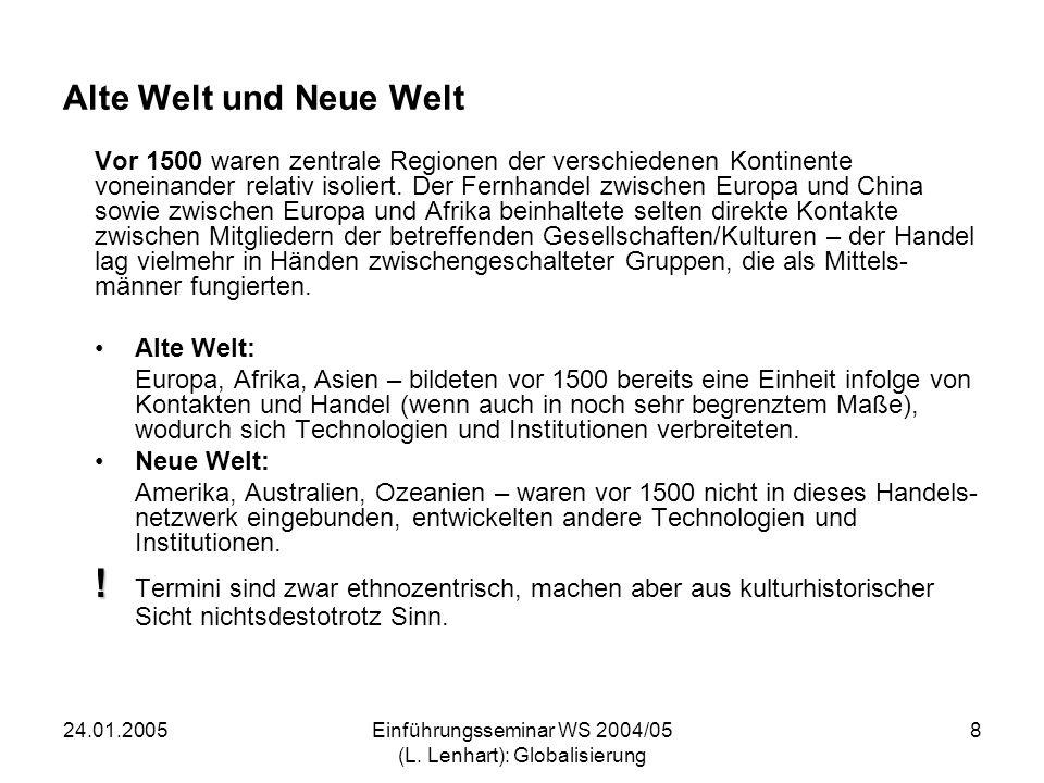 24.01.2005Einführungsseminar WS 2004/05 (L. Lenhart): Globalisierung 8 Alte Welt und Neue Welt Vor 1500 waren zentrale Regionen der verschiedenen Kont