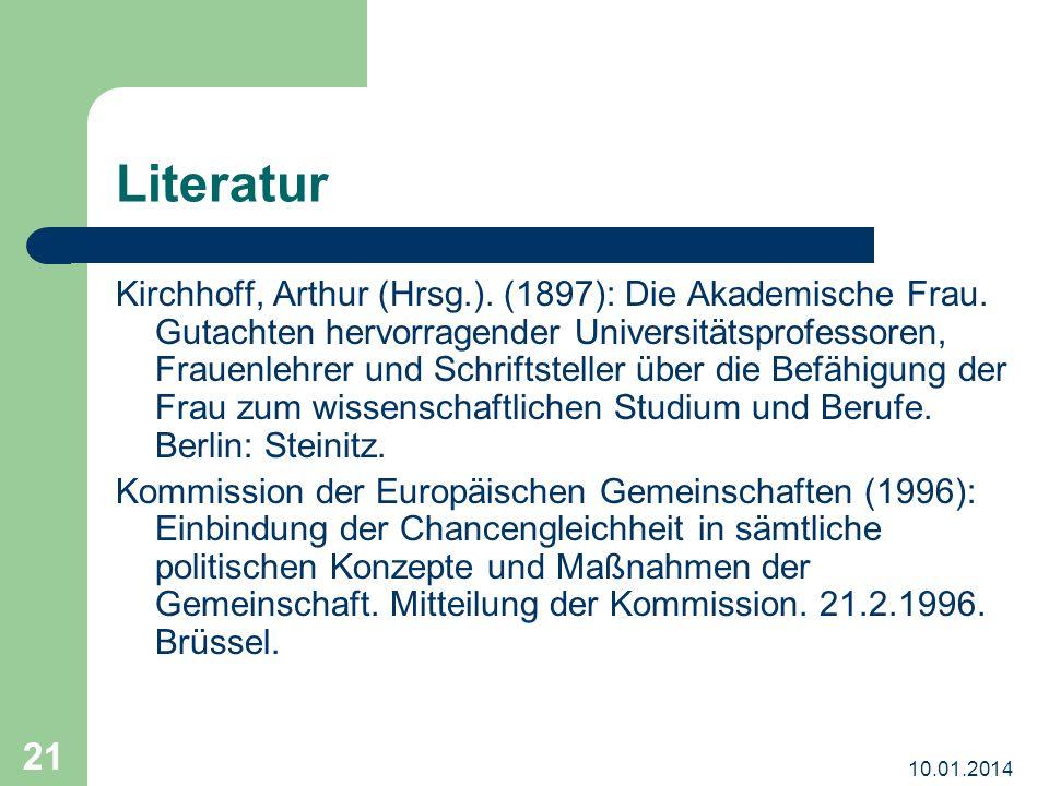 10.01.2014 21 Literatur Kirchhoff, Arthur (Hrsg.).