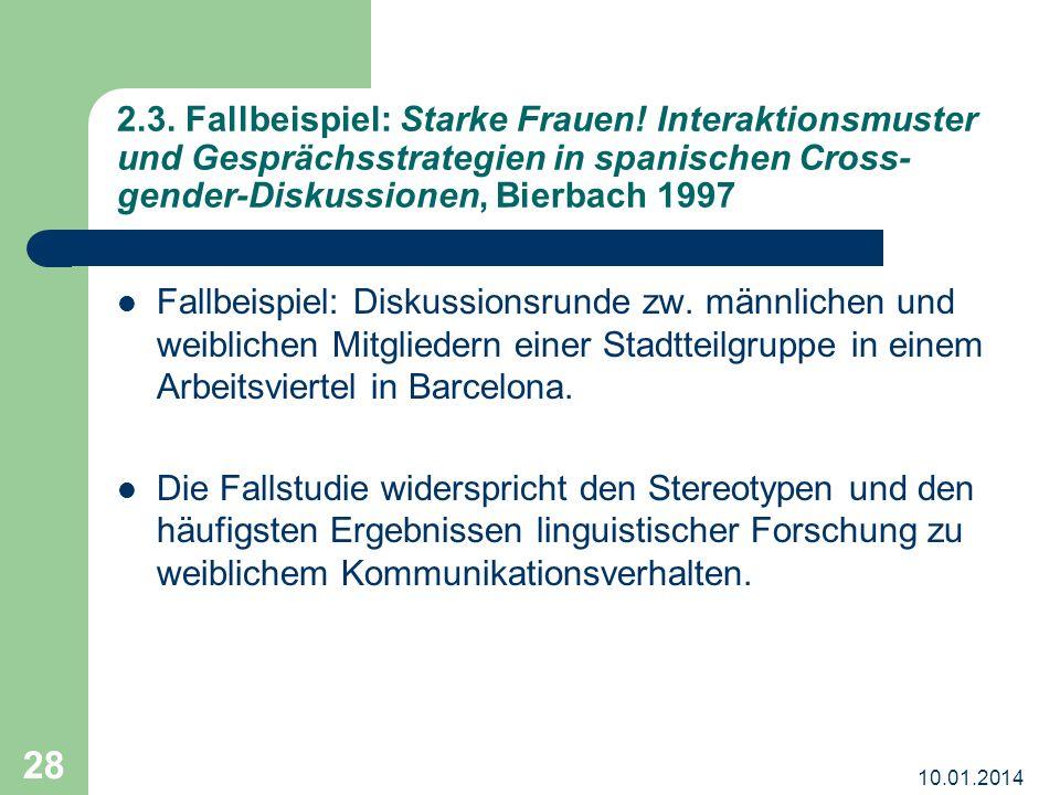 10.01.2014 28 2.3. Fallbeispiel: Starke Frauen! Interaktionsmuster und Gesprächsstrategien in spanischen Cross- gender-Diskussionen, Bierbach 1997 Fal