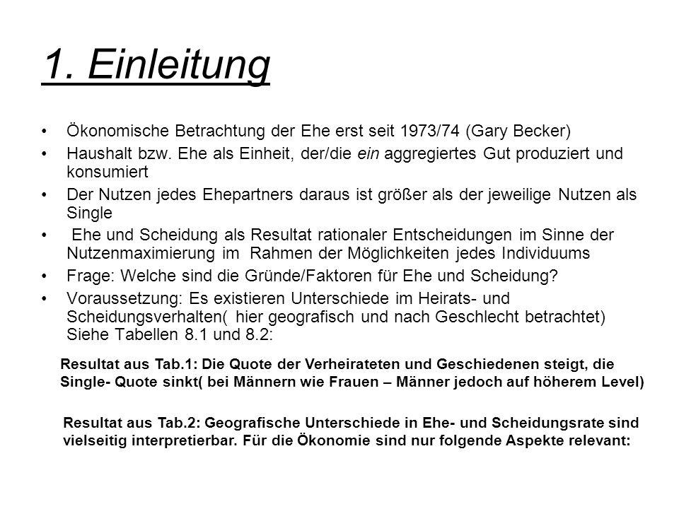 1. Einleitung Ökonomische Betrachtung der Ehe erst seit 1973/74 (Gary Becker) Haushalt bzw. Ehe als Einheit, der/die ein aggregiertes Gut produziert u