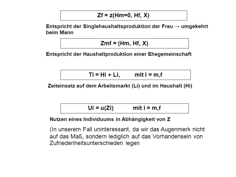 Zf = z(Hm=0, Hf, X) Entspricht der Singlehaushaltsproduktion der Frau umgekehrt beim Mann Zmf = (Hm, Hf, X) Entspricht der Haushaltproduktion einer Eh