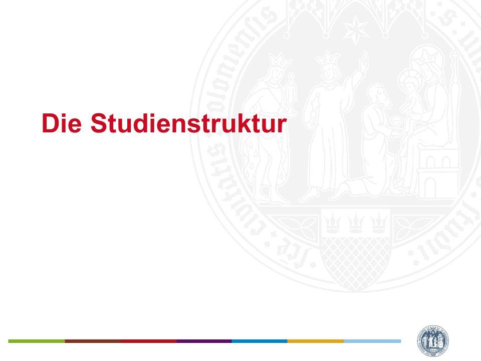 Universität zu Köln Der Studiengang Der Studiengang ist modularisiert –Festgelegt ist -Was an Umfang in einem Fach studiert werden (Einheit: Modul) -Welche Fächer studiert werden müssen (welche Module) –Wahlmöglichkeit besteht hinsichtlich -der thematischen Schwerpunkte der Seminare, die in den Modulen angeboten werden -hinsichtlich eines Basismoduls -hinsichtlich der Belegung von Veranstaltungen im Studium Integrale -hinsichtlich des Faches, das im Rahmen der interdisziplinären Vernetzung studiert wird –Es gibt eine Empfehlung, in welcher Reihenfolge die Module studiert werden (Studienverlaufsplan) -Manche Module setzten den Abschluss von anderen Modulen voraus (ist im Studienverlaufsplan berücksichtigt)