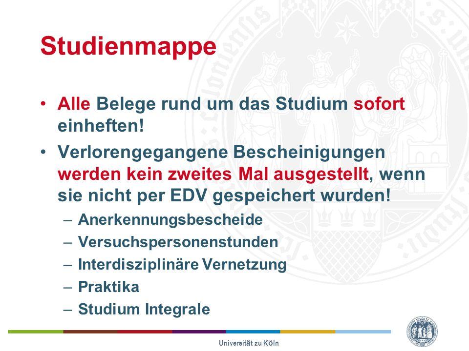Universität zu Köln Studienmappe Alle Belege rund um das Studium sofort einheften.