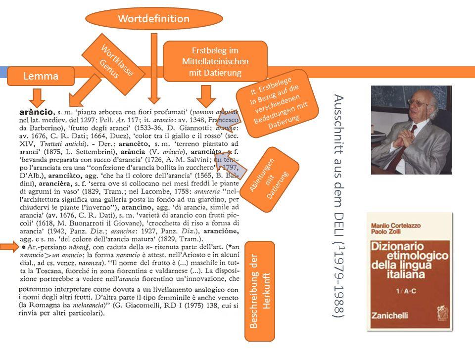 Ausschnitt aus dem DELI ( 1 1979-1988) 22 Lemma Wortklasse Genus Wortdefinition Erstbeleg im Mittellateinischen mit Datierung It.